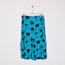 Vintage 80s 90s New Wave Turquoise Abstract Print High Waist Midi Dress Skirt M