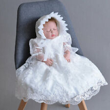 Delicate Newborn Girls Corded Embroidery Baby Baptism Dress with Bonnet