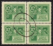Scott E7, VF+ Used Block of 4, 10c Green Special Delivery