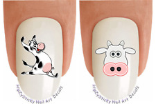 Nail Art #2072 ANIMAL Cow #2 Cow Face Waterslide Nail Decals Transfers Stickers