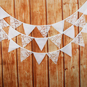1set White Rose Pattern Lace Flag Banner Bunting Pennant For Wedding Party Decor