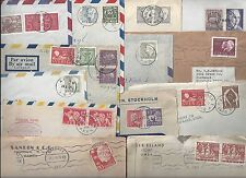 Sweden 1930-60s Collection Of 22 Commercial Covers & Post Cards Mostly To Us