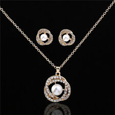 Fashion Pearl Crystal Rhinestone Banquet Hollow Pendant Necklace Earrings Set