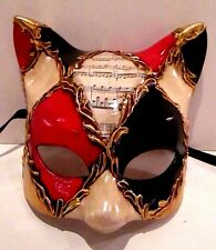 CAT 1 HANDMADE IN ITALY ANIMAL, CARNIVAL PAPIER MACHE, PARTY MASK, RED/BLACK