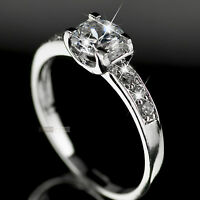 18K White Gold Plated 1.0carat women's wedding Ring Simulated Diamond