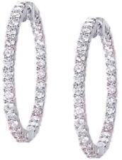 Hoop Earring 80 x 0.11 ct each 8.90 carat Round cut Diamond 18k White Gold