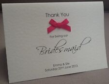 Wedding Bridesmaid Thank You Cards Personalised Ebay