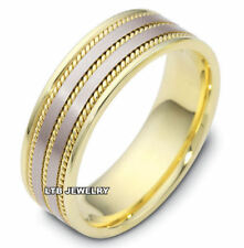 MENS 14K TWO TONE GOLD HANDMADE BRAIDED WEDDING BANDS RINGS 8.5MM