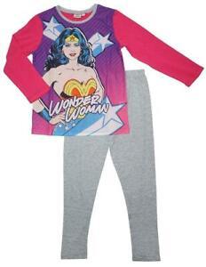DC Comics Wonder Woman Long Pyjamas Kids Super Hero 2 Piece Pjs Nightwear Set