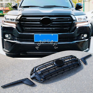 For Toyota Land Cruiser LC200 16-20 Black Grille Front Bumper Center Grill Decor