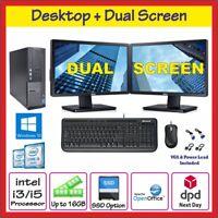 FAST DELL HP DUAL SCREEN PC COMPUTER TOWER WINDOWS 10 16GB RAM 2000GB HDD SSD