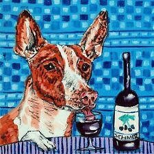 ibizan hound dog art print on tile Coaster gift Jschmetz modern folk wine art