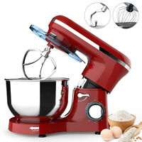 Electric Food Stand Mixer 6 Speed 6QT 850W Tilt-Head Stainless Steel Bowl Red