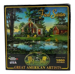 """Fred Swan """"Summer Gold"""" 1000 Piece Jigsaw Puzzle 2009 White Mountain Puzzles"""