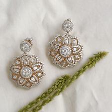 Natural 4.40 TCW HI/SI Baguette Diamond Pave Fine Dangle Earrings 18k Rose Gold