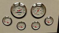 6 gauge WHITE mechanical speedometer set STREET ROD HOT ROD, UNIVERSAL