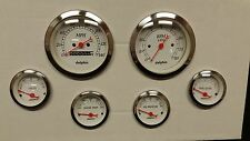 6 gauge WHITE mechanical speedometer set STREET ROD HOT ROD, UNIVERSAL