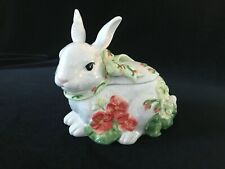 Fitz and Floyd Geranium Rabbit Lidded Box 2006