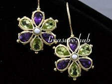 EP038 - Genuine 9ct SOLID Gold Natural Peridot & Amethyst Large DAISY EARRINGS