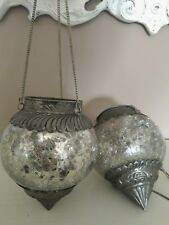 Pair Candle Holder, Suspension, to Hang, Glass & Metal
