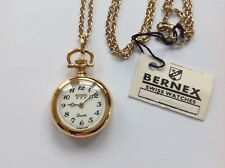 Bernex fob watch with chain, gold plated. Swiss made. Quartz movement.