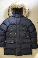 Mens Burberry London Down Coat Leather Trimmed with Fur