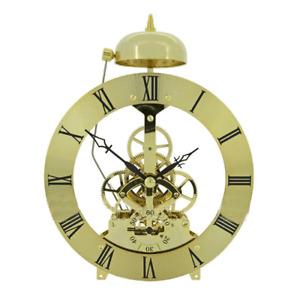 Quartz Skeleton Clock Movement Brass Roman Numerals 135mm Diameter Bezel & Bell