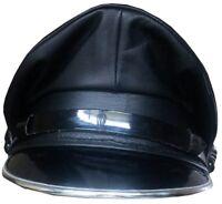 Genuine Leather Black Army Muir Biker Silver Trim Peak Police Gay Military Cap