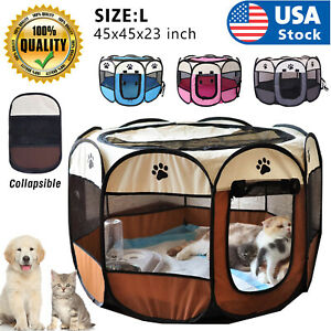 "USA 45"" 600D Oxford Portable Pet Puppy Soft Tent Playpen Dog Cat Folding Crate"