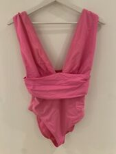 PINK LOW CUT SWIMSUIT RUCHED 12 ASOS BEACH SWIM IBIZA MARBS POOL PARTY GLAM FIT
