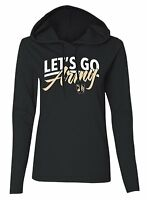 Let's Go Army Hoodie T-Shirt Long Sleeve Womens SZ M/L Pullover Black Knights