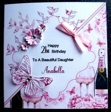 HANDMADE PERSONALISED BIRTHDAY CARD,PINK CHAMPAGNE BUTTERFLY & 3D FLOWERS