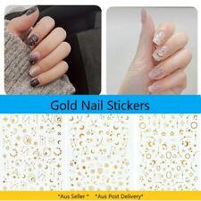 3D Gold Nail Art Sticker Decor Accessory Galaxy Flower Star Moon Christmas Xmas