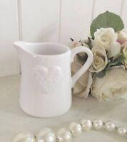 GISELA GRAHAM Small Ceramic WHITE HEART JUG Shabby Chic Kitchen Home Bud Vase