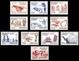 Greenland 1982 - 1985 Thousand Years of History set of 11, Whales, Ship UNM /MNH
