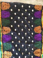 Vintage Dupatta Indian Long Stole Embroidered  Net Fabric Scarves Black/bandana