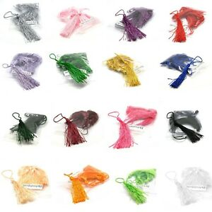 6 Polyester 3 inch Long Thread Tassels with 2 inch Twisted Loop For Hanging