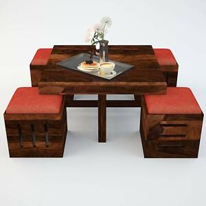 NEW HANDMADE WOODEN TEAPOY DESIGN CENTER COFFEE TABLE WITH 4 STOOL,(TEAK FINISH)