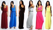 Patternless Full Length Viscose Sleeveless Dresses for Women
