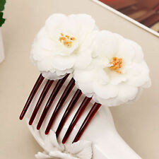 1pc Boho Floral Bride Hair Clip Camellia Flower Hair Comb Wedding Party White