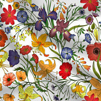 """Printed Flower Cotton Quilting Fabric Sewing Bed Sheet Cotton Fabric 44"""" 1 Yard"""