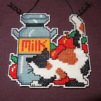 """New Cat Milk Can Christmas Whimsy Ornament Handmade Finished Cross Stitch  3"""""""
