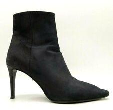 Prada Black Leather Zip Up High Heel Ankle Boots Women's 37.5 / 7.5