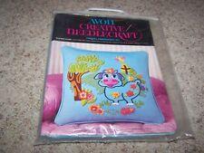 Vintage AVON Creative Needlecraft CREWEL EMBROIDERY KIT Blue Moo Pillow NEW