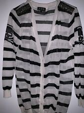 POL BLACK & WHITE STRIPE SKULL DESIGN THIN CARDIGAN SWEATER - SIZE L
