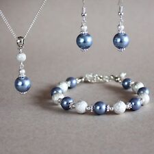Cornflower blue pearls necklace bracelet earrings silver wedding jewellery set