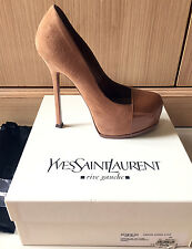 Authentic YSL Rive Gauche Tribtoo classic beige pump shoe size 38 $1175,like NEW