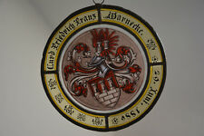 Warnecke Wappen 1886 sign. Glas Heraldik Zum Kleeblatt Hannover glass blazon