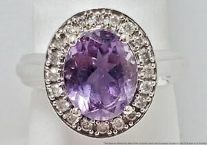 Fine Diamond Halo Oval-Cut Amethyst 14k White Gold Ladies Ring Size 6.75 Signed