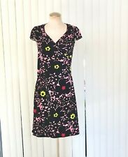 BCBG Paris Floral Wrap Summer Black and Pink Dress Sz S New Without Tag